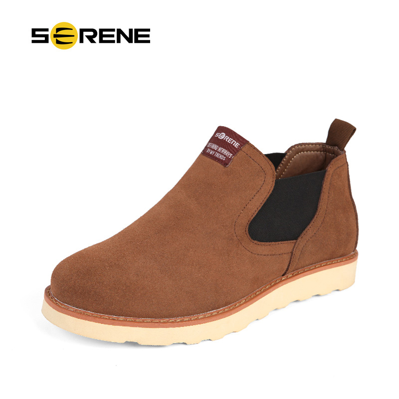 SERENE New Arrival Serene Autumn & Winter  Men British Martin Boots Retro Leather Chelsea Boots Flat With Free Shipping 3235 short boots woman the fall of 2017 a new restoring ancient ways british wind thick boots bottom students with martin boots