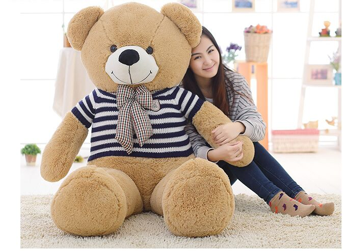 stuffed plush toy large 140cm teddy bear plush toy blue stripes sweater bear soft doll hugging pillow, birthday gift s2805 large 120cm teddy bear plush toy hug love heart plush bear doll soft throw pillow christmas birthday gift x046