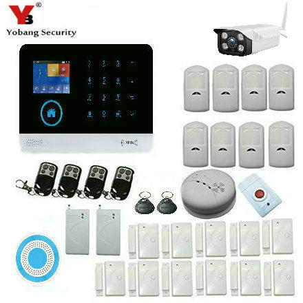 YobangSecurity Wifi Gsm GPRS RFID Home Security Alarm System Kit with Outdoor Wifi IP Camera Wireless Siren For Home Security yobangsecurity 2016 wifi gsm gprs home security alarm system with ip camera app control wired siren pir door alarm sensor