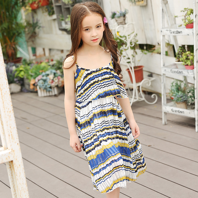 Brand Children's Clothing Girls Dresses Summer 2017 Teens Girl Tank Dresses Bohemian Fashion Chiffon Beach Dress Chiffon Long salvador dali dali wild