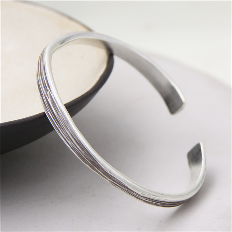 JINSE 2017 New New Arrival 999 Thai Silver Cuff Bracelet Retro Silver Bangle Bracelet For Women Men With Best Gift 7.10mm 17.50G все цены