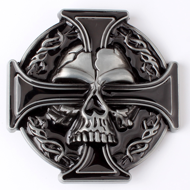 Cross Belt Buckle With Skull  Diy Metal Belt Buckle