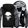 Fashion Hot-Selling Men Women Punisher Skull Zipper Jacket Thicken Hoodie Coat Winter Clothes Casual Free shipping S-2XL-4XL-5XL