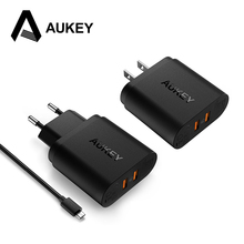 AUKEY USB Charger QC 3.0 Qualcomm Quick Charger Mobile Phone Dual USB Travel Charger Fast Charging For Samsung XiaoMi LG Phone
