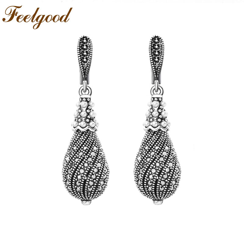 Feelgood Jewelry Antique Silver Color Vintage Earring Micro Pave Black Crystal Teardrop Drop Earrings For Women Party Gift sellsets vintage silver color teardrop earring pave full black cz rhinestone and imitation pearl drop earrings for wedding party