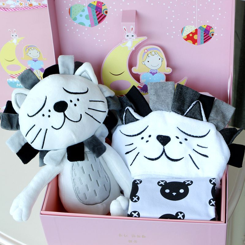ФОТО 2017New 3Pieces Baby Romper Toy Blanket Sets Cartoon Lion Doll Comfort Toy Princess Prince Gift Newborn Infant Birthday Gift