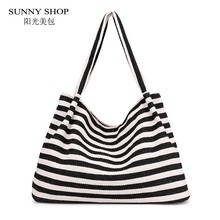 SUNNY SHOP Casual Canvas Bag Of Women 2018 Large Capacity Shopper Tote Bag  A4 Book Handbag Stripe Korean Sling Shoulder Bag Blue 2b2ff98d9eb52