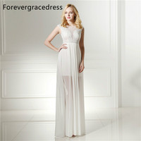 Forevergracedress Actual Photos White Color Evening Dress New Illusion Neck Sleeveless Formal Party Gown Plus Size