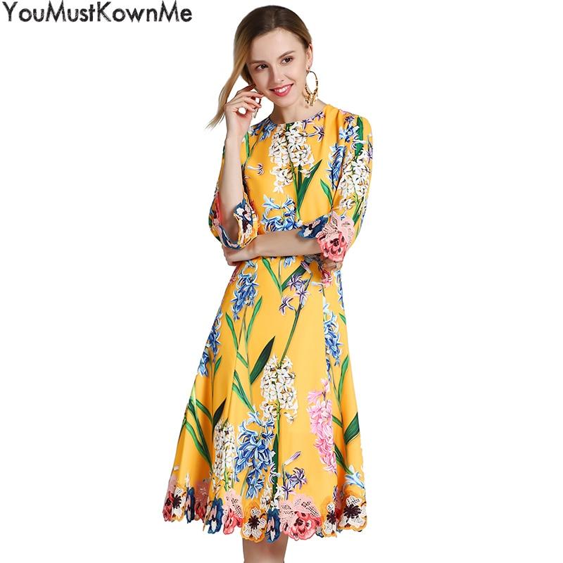 YouMustKnowMe automne robe 2018 femmes demi manches a-ligne élégant floral pinté et brodé jaune robes de soirée pour les femmes