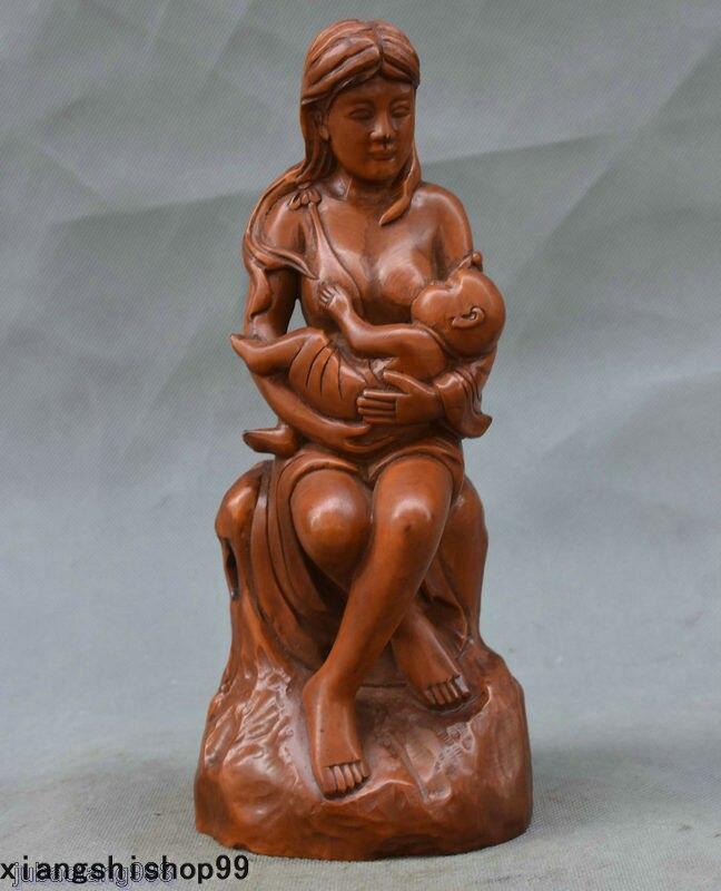 Рождество 9 Редкие китайский Самшит ручной резьбой сидеть женщина ребенка сосания статуя Скульптура Хэллоуин