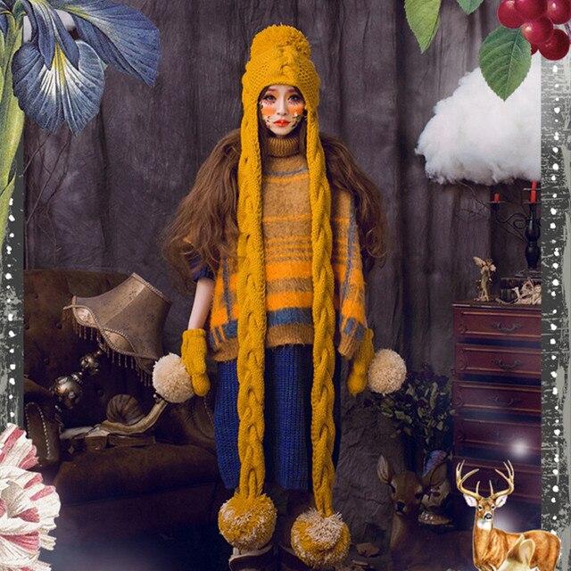Earmuff Шапочка и Перчатки с Большой Пом Милые Женщины Зима Теплая Шапки 100% Ручной Вязать Шляпу Подарок