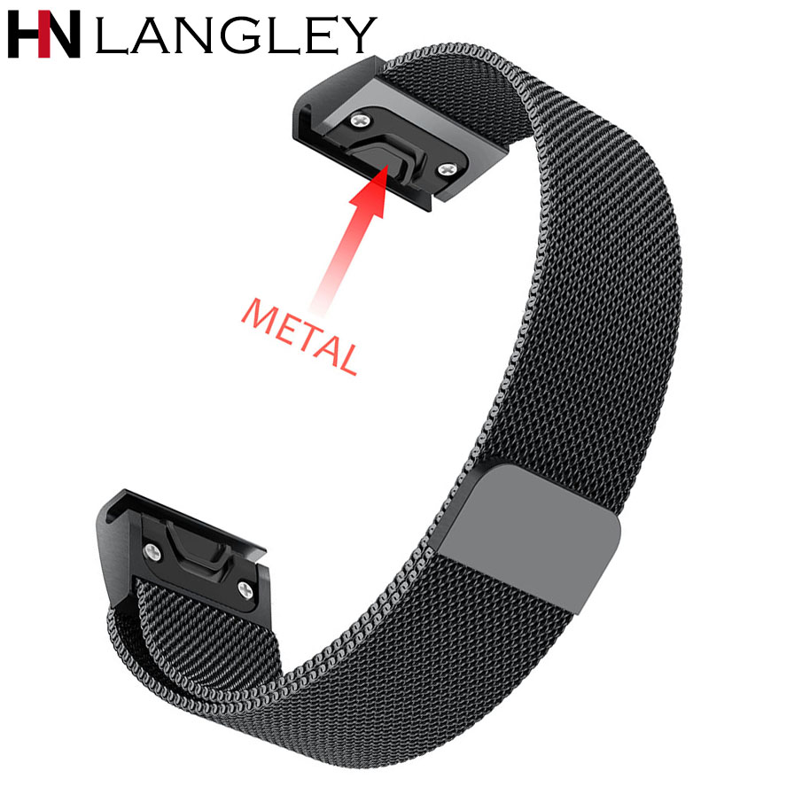 Quick Release Milanese Loop Band for Garmin Fenix 3 HR 5X 5S Watch Band 20 22 26 mm Size Bracelet for Garmin Forerunner 935 garmin forerunner 935 black