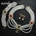 OUMEILY Elegant Dubai Bijoux Femme Jewelry Sets For Women Gold Plated Charm Necklace Earring Bangle Ring Party Dress Accessories