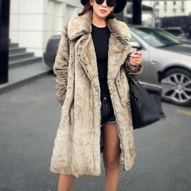 709b1dc9fb869 Fur Coat Women New Winter Medium Long Coat Luxury Thicken Warm Female Faux  Fur Overcoat Vintage