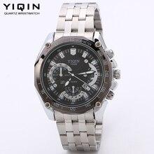 YIQIN 2016 Marca de Relojes de Lujo Hombres Relojes de cuarzo de moda Casual de Negocios Reloj impermeable calendario relogio masculino regalo