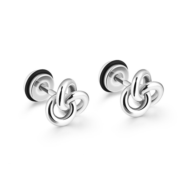 Unique Love Knot Design Stud Earrings For Women Men Gold Color / Black / White Hight Plished Unisex Jewelry Gift GE338