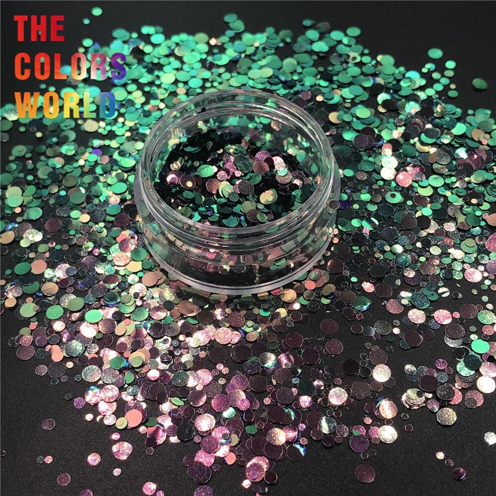 TCT-316 cores camaleão mudança redonda dot forma unhas glitter unhas arte decoração tumblers abanador artesanato decoração do festival