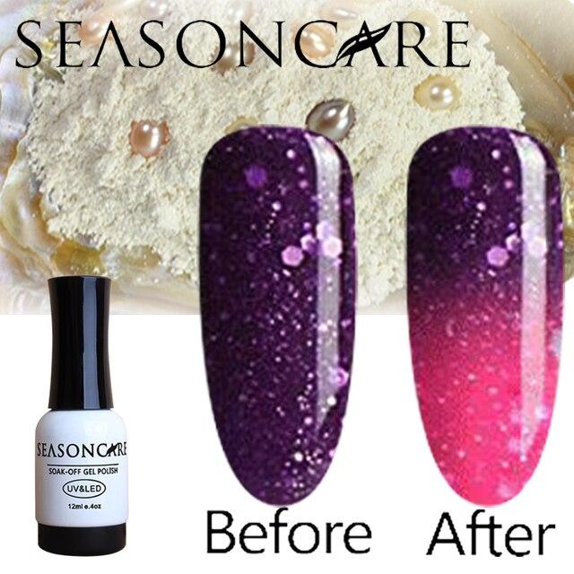 SEASONCARE Pearl Healthy brand-Lavander Temperature Thermal Color Change nail gel polish need uv led lamp to cure natural
