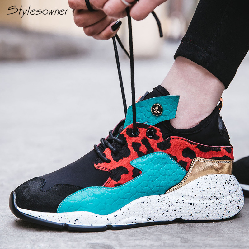 Stylesowner Zapatillas Mujer Women Lace Up Shoes Horse Hair Real Leather Casual Sneakers Leopard Mixed Color Lady Casual Shoes