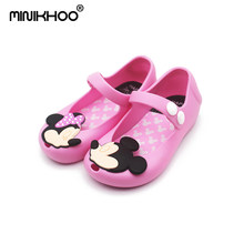 Mini Melissa 4 Color Mickey Girl Sandals Non-slip Girl Shoes Cheap Sandals For Kids Jelly Sandals Shoes High Quality(China)