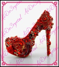 Aidocrystal 2016 fashion Lucky Red hot sexy chinese traditional bride Wedding high heel shoes