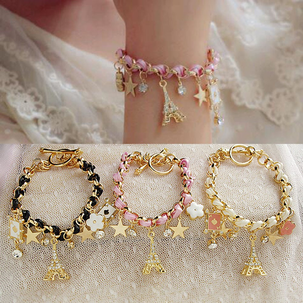 Vienkim New Hot sell  Fashion Jewelry Multielement Gold Chain Leather Rope Crystal Handmade Bracelet Eiffel Tower Star Pendant 2