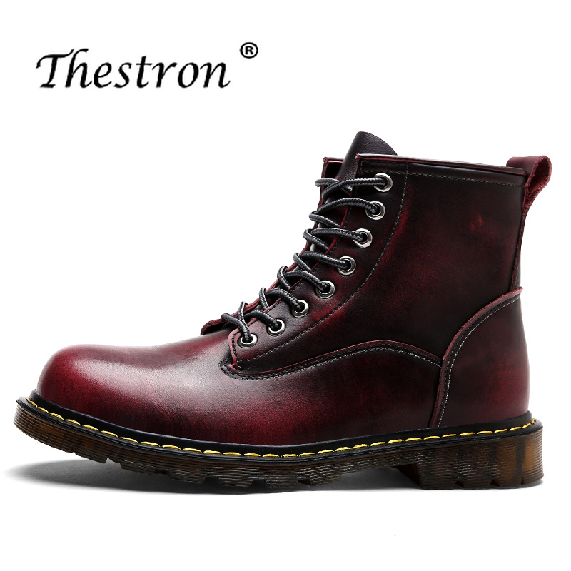 2019 Working Male Boots Spring Autumn Man Thick Sole Shoes Light Brown Wine Red Fashion Men Boots Comfortable Mens Ankle Boots
