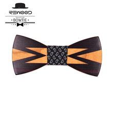 Rewood Donald Trump Fashion Bow Tie With Print Wedding Decoration Wooden Bow Ties For Men Butterfly Tie Gravata Christmas Gifts