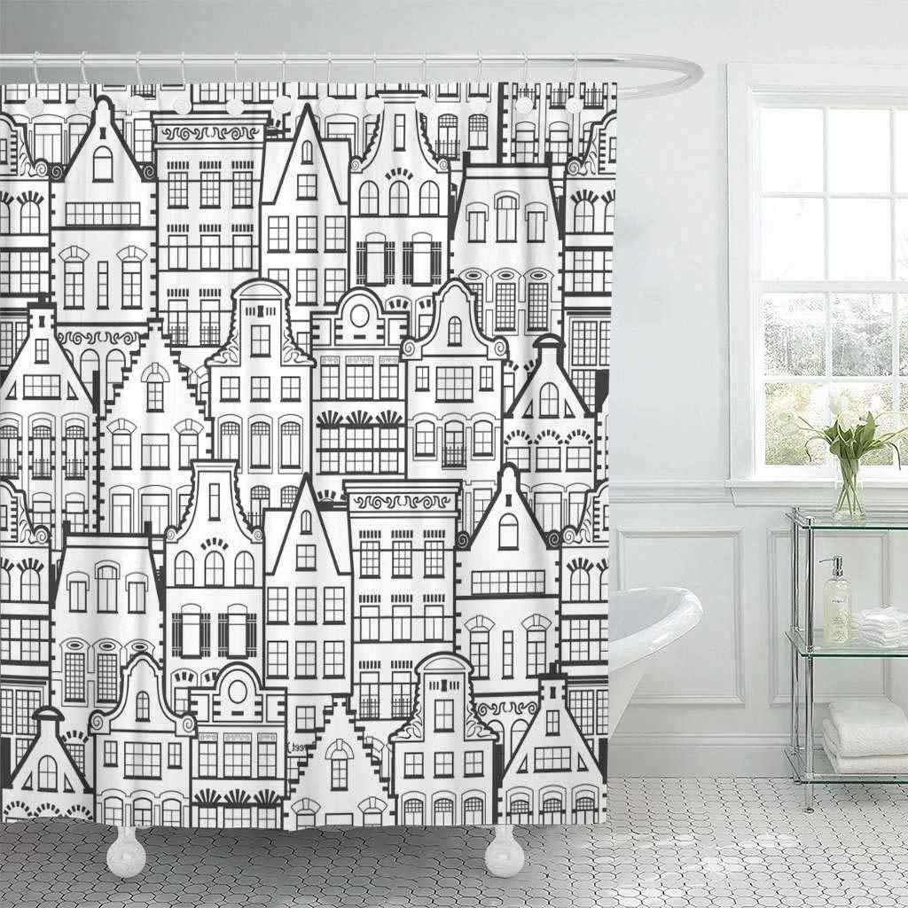 Shower Curtain With Hooks Holland Old Houses Facades Traditional Architecture Netherlands Line Black And White Bathroom Shower Curtains Aliexpress