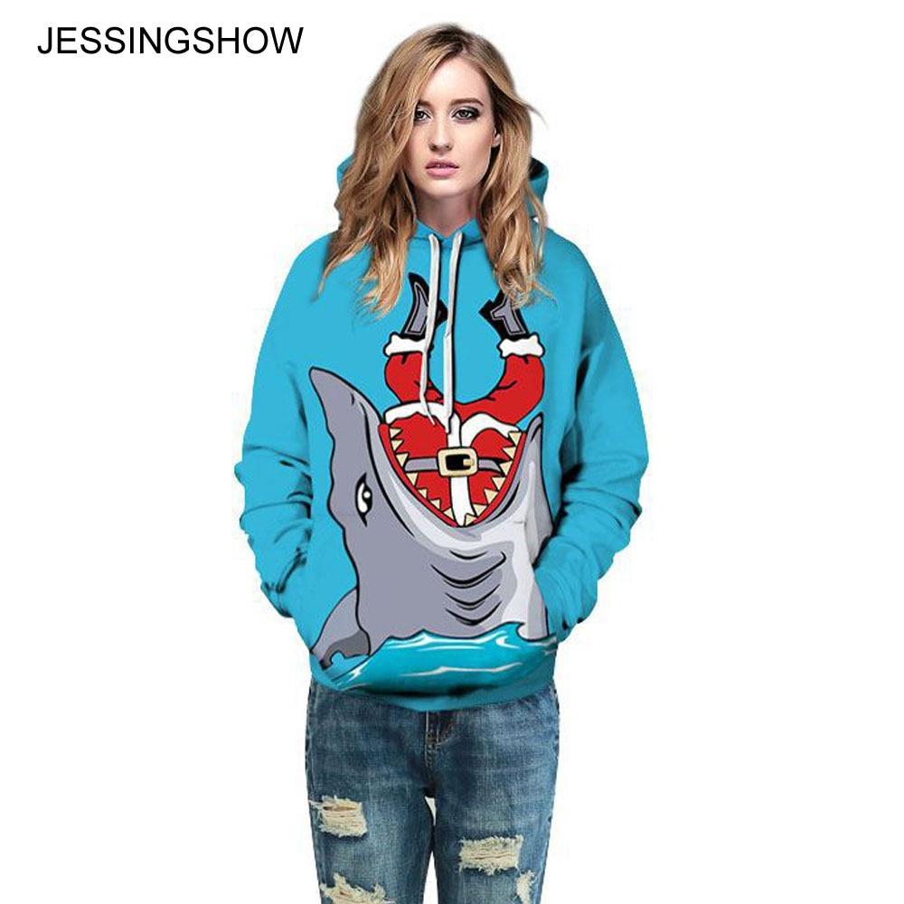JESSINGSHOW 2017 New Women Men Digital 3D Printed Christmas Pullover Hoodies Sweatshirts Women Men Blue Long Sleeve Tracksuit