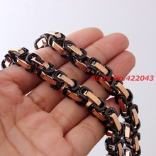 Customize ANY Length 8mm Wide Rose Gold with Black Byzantine Link Stainless Steel Necklace Bracelet Mens Chain Jewelry Gift