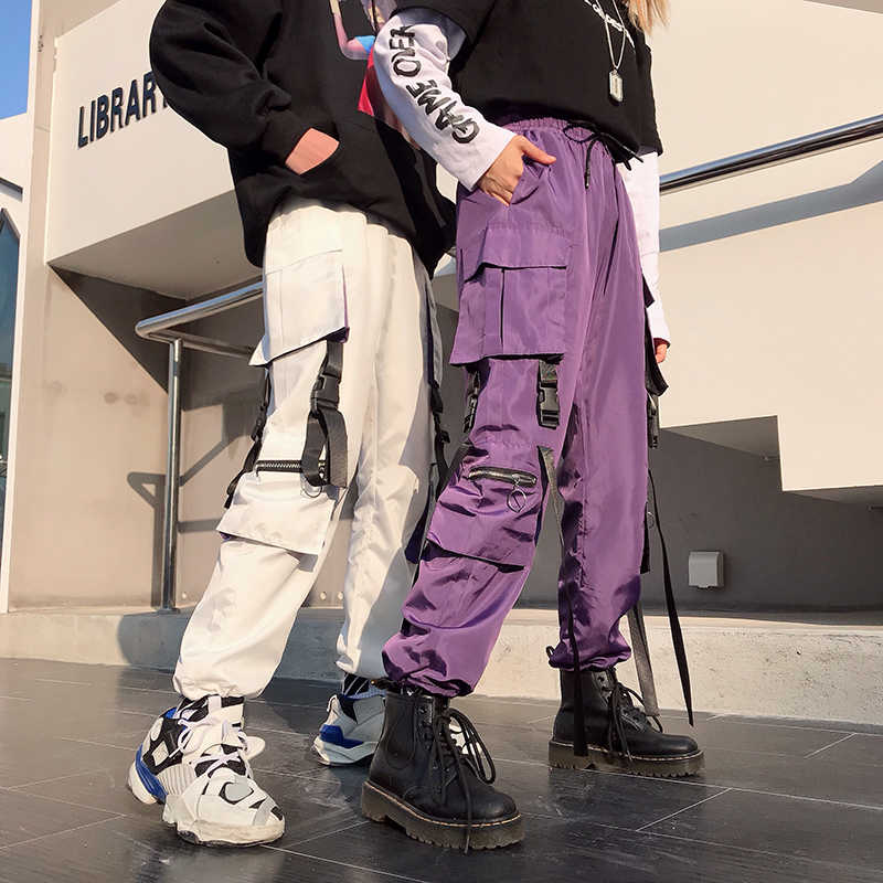 2019 Harajuku Cargo Pants Women Streetwear Elastic High Waist Black White Purple Loose Ladies Trousers Pockets pantalon femme