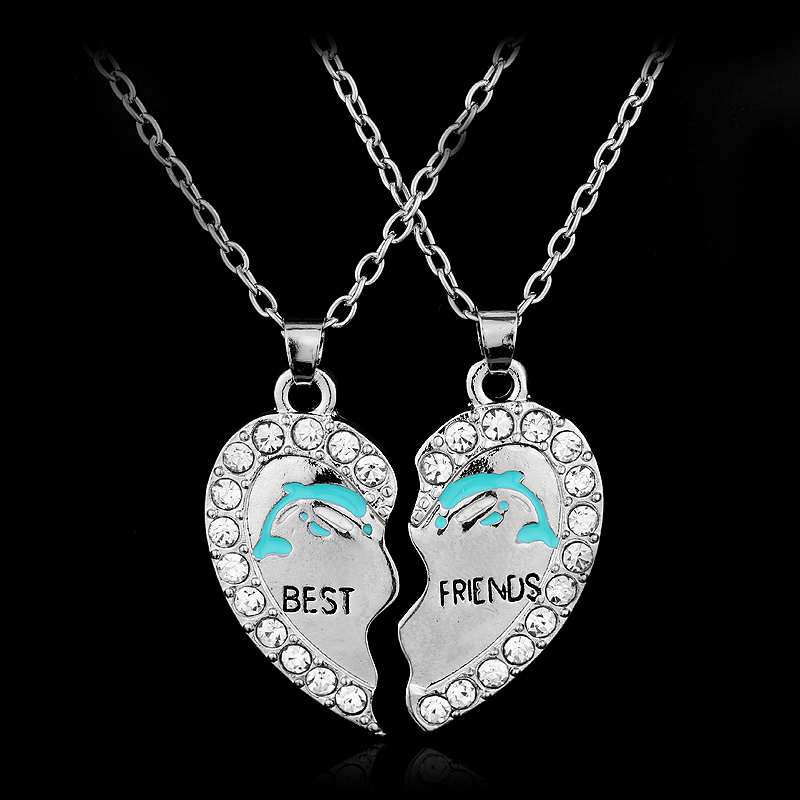 2 pieces split heart couple best friend letter pendant necklaces 2 pieces split heart couple best friend letter pendant necklaces cute dolphin engraved crystal friendship necklace pendant in pendant necklaces from jewelry aloadofball Choice Image