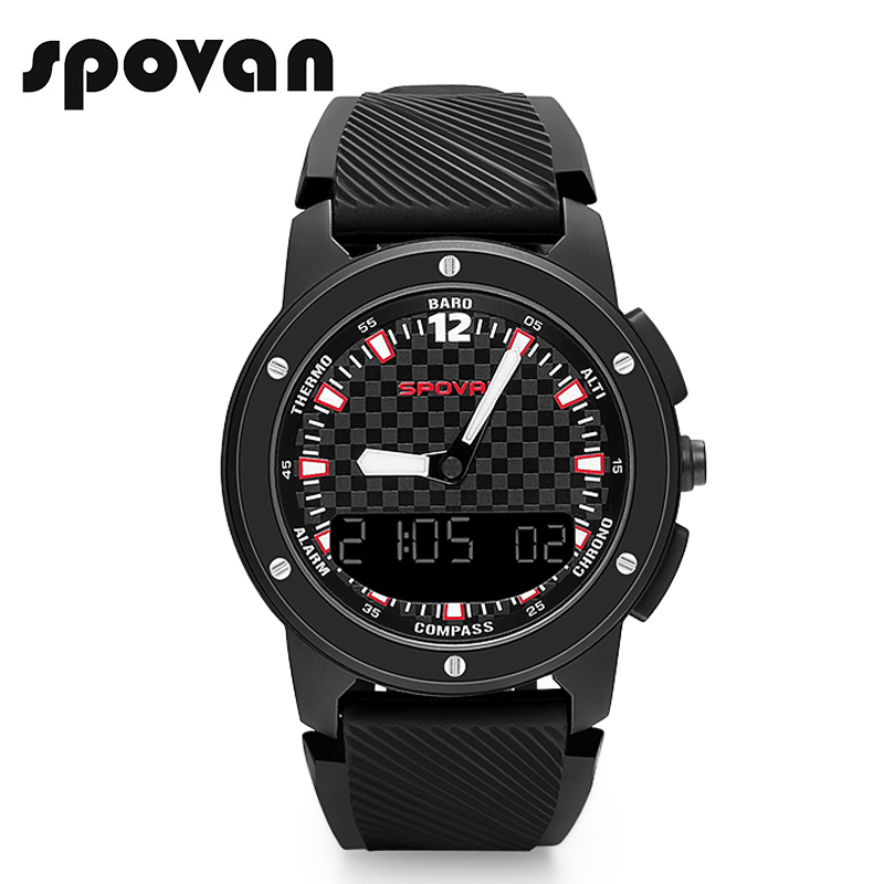 US $45 22 62% OFF|SPOVAN New GEMINI Men's Watch Sport Watches Double  Display Wristwatch Compass/Waterproof/LED Backlight-in Digital Watches from