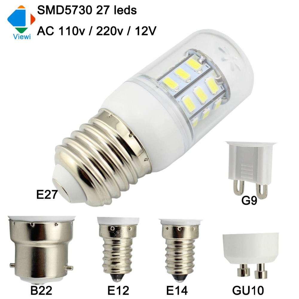 Viewi Bombillas 12v Led Bulb E27 E14 E12 B22 Gu10 G9 Home Light 220v 110v Smd5730 27leds 12 Volt