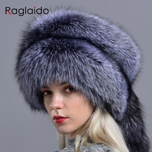 Raglaido шапки из натурального Лисьего меха для женщин, зимняя Модная стильная русская Толстая теплая шапка, шапка из натурального пушистого меха с хвостом