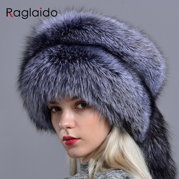 Raglaido real fox fur hats for women winter fashionable stylish Russian thick warm beanie hat natural fluffy fur hat with tail