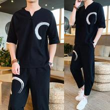 Loldeal Chinese Embroidery Semi-Linen Linen Mens Large Size Loose Pants Short Sleeve T-Shirt Summer Tropical Set