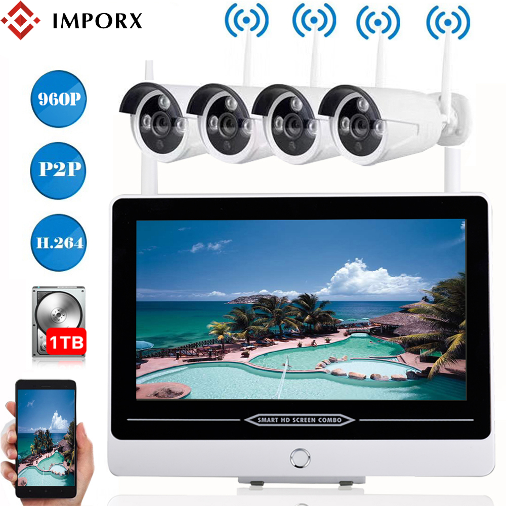 IMPORX 4CH 960P Wireless Security Camera System 1.3MP CCTV Wifi IP Camera Video Surveillance Set With 13\