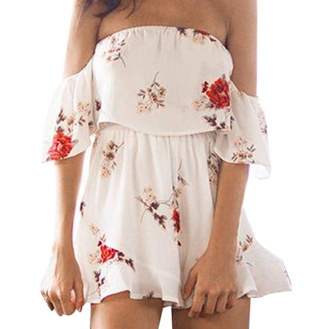 67e9550071118 Women White Floral Print Jumpsuit Ladies Sexy Off The Shoulder Chiffon  Playsuit Short Sleeve Boho Romper #L-in Rompers from Women's Clothing & ...