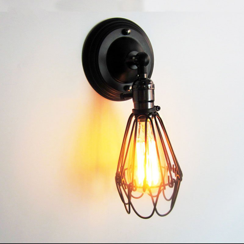 loft industrial iron cage. Creative Loft Industrial Wind Wall Light Retro Small Iron Cage Lamp E26/E27 Bedside For Restaurant Kitchen Bedroom-in Lamps From Lights A