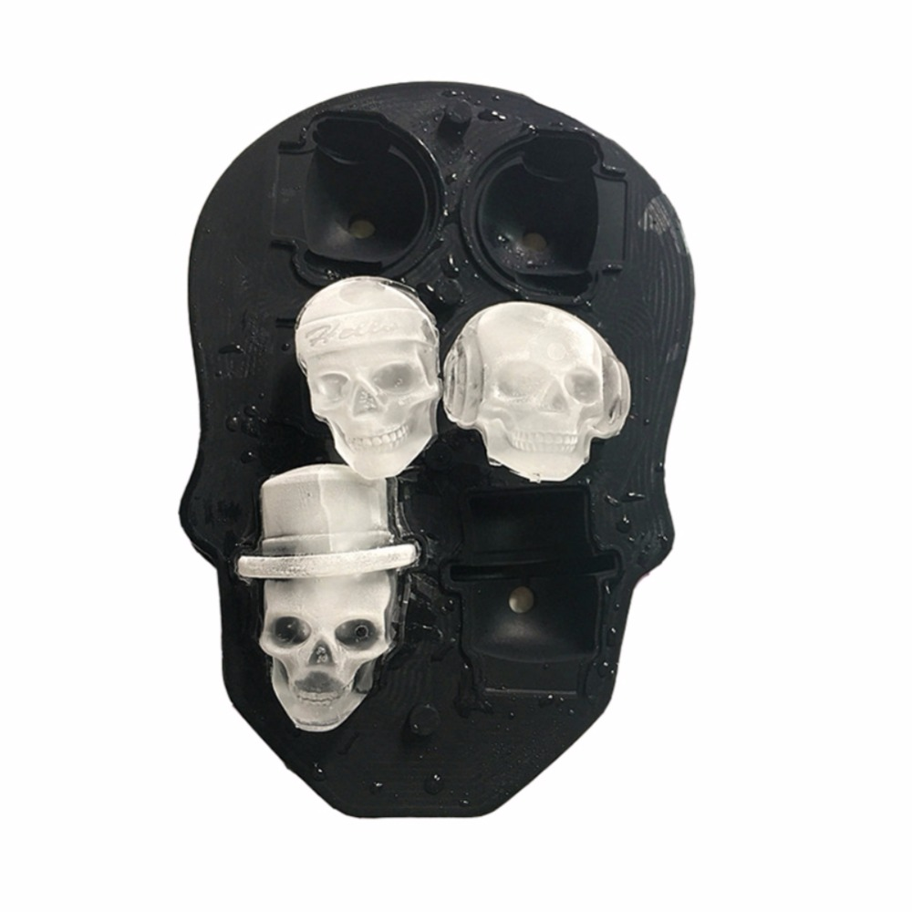 New 6 Cavity Skull Shape 3D Ice Cube Mold Maker Bar Party Silicone Trays Flexible Mold Trays Makes Chocolate Mold