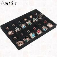 Black Velvet 24 Grids Removable Ring Bracelet Watch Jewelry Box Showcase Tray Fashion Jade Storage Display