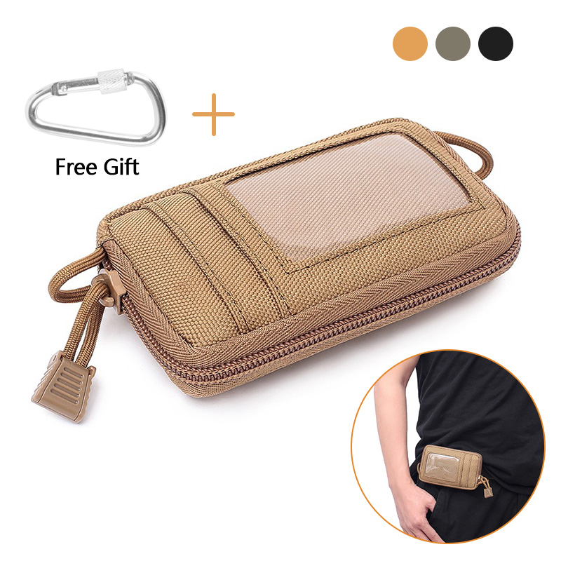 Tactical Mini Wallet Card Money Key Pack Waist Bag Nylon With Free Carabiner Camping Hiking Outdoor Waterproof Belt Small Pouch