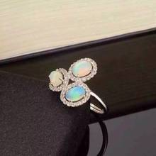 Natural opal gem ring Natural gemstone ring S925 sterling silver ring trendy Elegant Lovely Tricyclic round women gift Jewelry