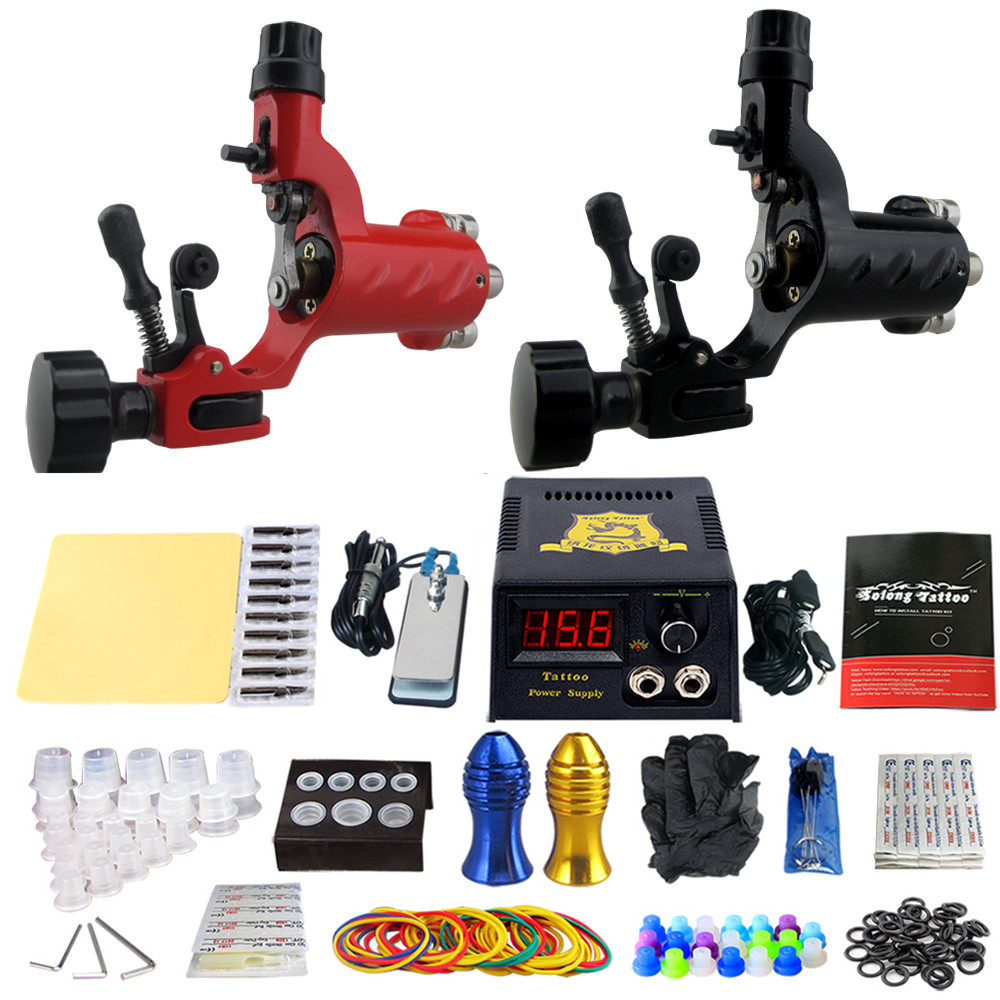Solong Tattoo Pro Tattoo Kit 2 Rorary Tattoo Machine Gun Power Supply 1 Practice Skin Dual-sided Re-usable One Set TK202-16 re egret one page 2