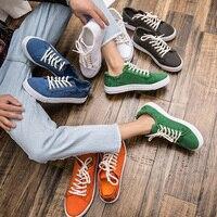 여름 패션 남성 캔버스 흰색 신발 예술 청소년 클래식 레이스 업 캐주얼 스포츠 신발 남성 야외 통기성 학생 신발