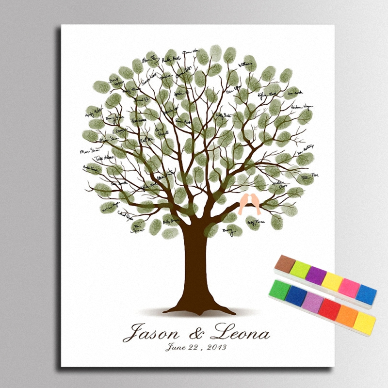 diy love tree and birds fingerprint signature canvas painting