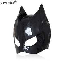 Loverkiss Cosplay Adult Sex Love Games Thin Patent Leather Mask Sex Toys For Woman,Fetish Mask Bondage Hood Erotic Sex Products