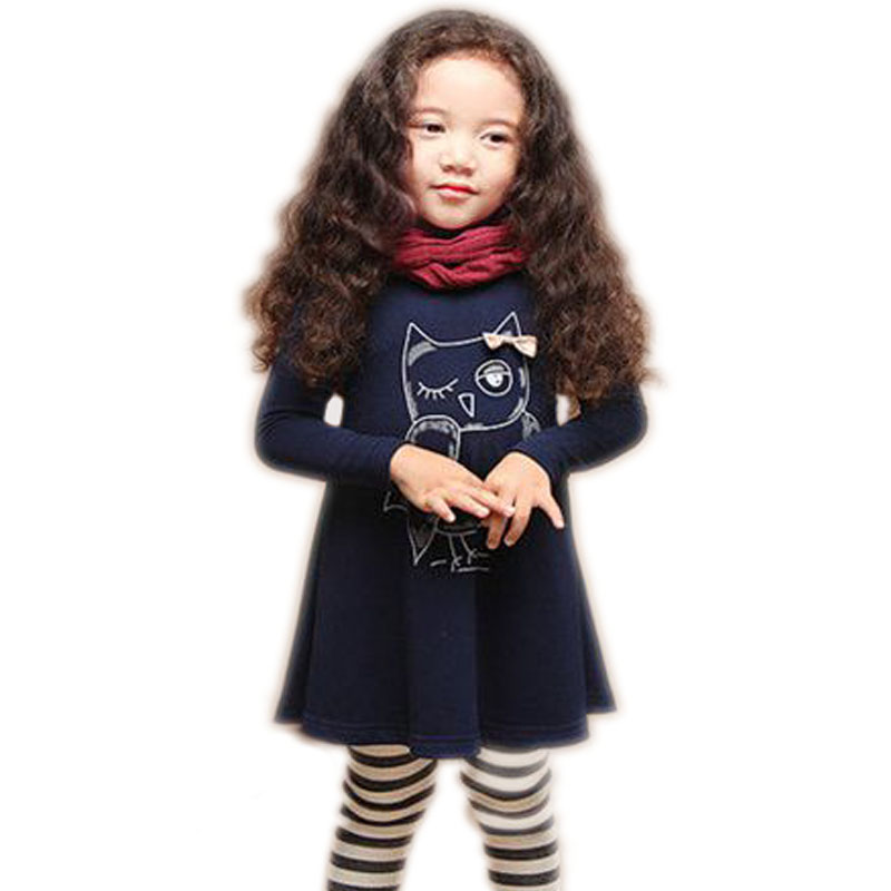 V-ÁRBOL NUEVA moda vestido de niña de algodón de manga larga niña princesa vestido de niñas de dibujos animados búho ropa casual